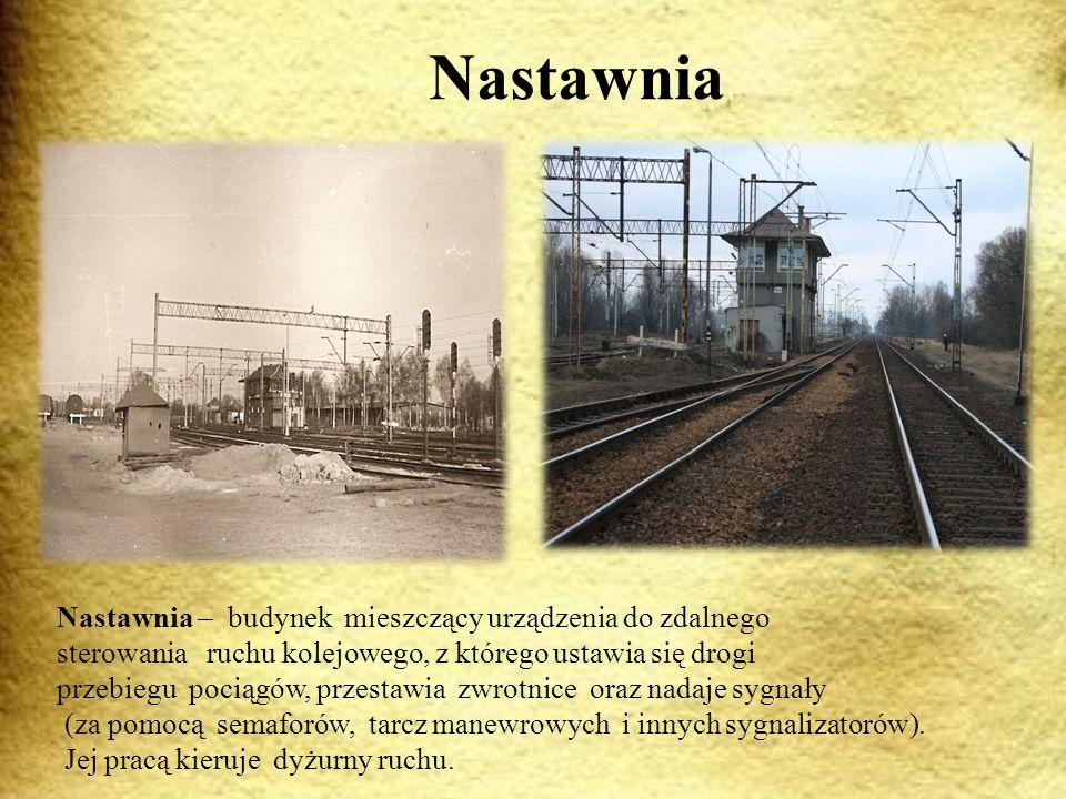 Nastawnia Nastawnia – budynek mieszczący urządzenia do zdalnego sterowania ruchu kolejowego, z którego ustawia się drogi przebiegu pociągów, przestawia zwrotnice oraz nadaje sygnały (za pomocą semaforów, tarcz manewrowych i innych sygnalizatorów).