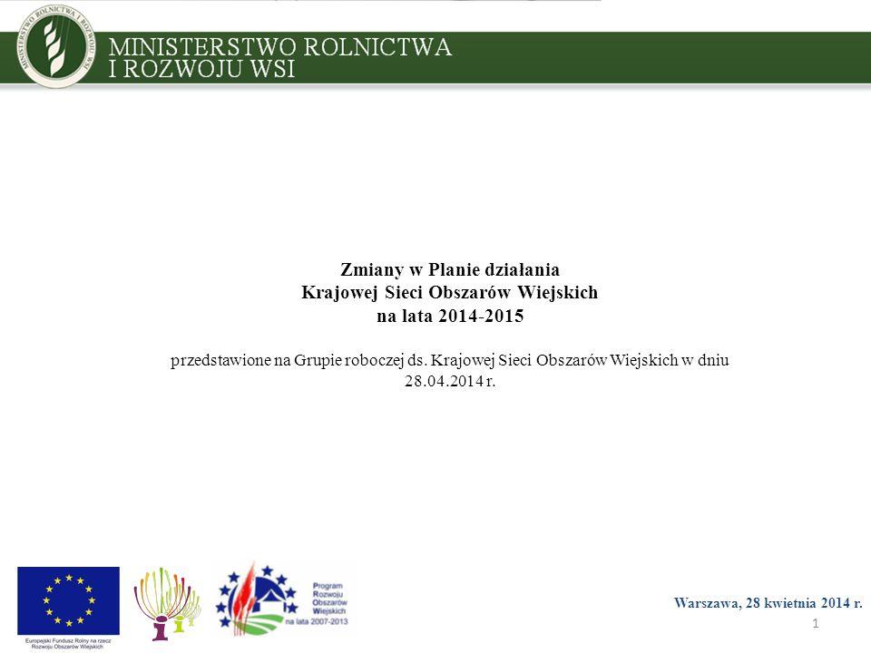 1 Zmiany w Planie działania Krajowej Sieci Obszarów Wiejskich na lata 2014-2015 przedstawione na Grupie roboczej ds.