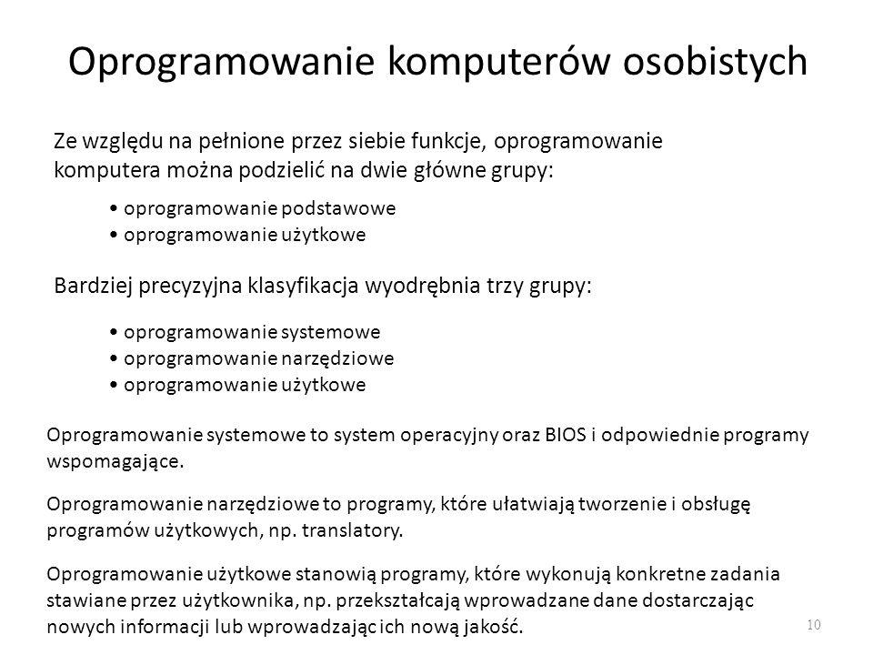 Struktura oprogramowania komputera 11 Struktura oprogramowania komputera ma charakter warstwowy