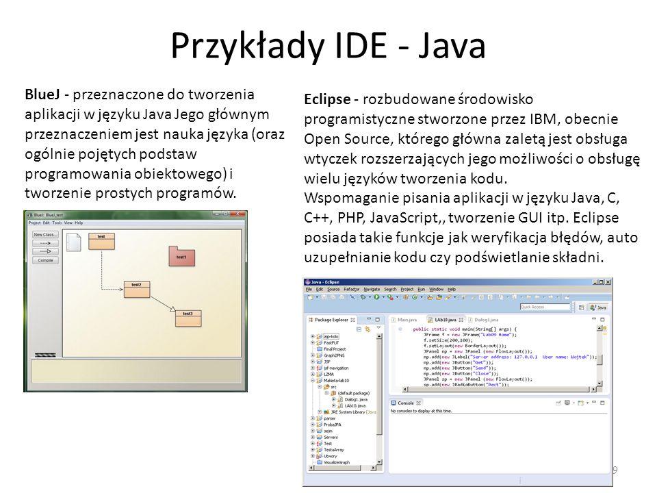 Przykłady IDE – C, C++, C# 20 Microsoft Visual Studio Dev C++ Code::Blocks