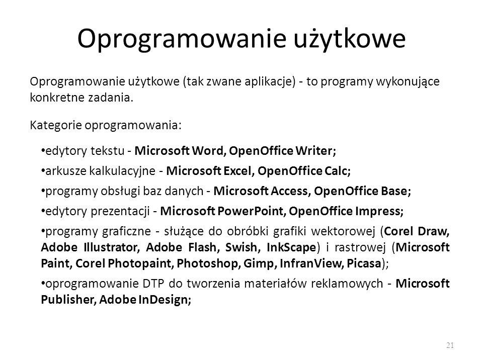 Oprogramowanie użytkowe 22 oprogramowanie OCR służące do rozpoznawania znaków lub całych tekstów, często dołączane do skanerów - FineReader, Recognita; oprogramowanie CAD - komputerowe wspomaganie oprogramowania – AutoCAD, SolidEdge; programy antywirusowe - Avast, AVG, Kaspersky, Nod23, Norton Antivirus, Panda Antivirus, programy antyspyware - usuwające z komputera programy spyware, których celem jest szpiegowanie działań użytkownika - Windows Defender, SpyBot, Ad-Aware; programy firewall - chroniące komputer przed zagrożeniami z sieci komputerowej - Norton Symantec Security, Outpost, zapora wbudowana w Windows (SP2); programy finansowo-księgowe - RAAKS, Rachmistrz, Symfonia; przeglądarki internetowe - Microsoft Internet Explorer, Mozilla Firefox, Opera, Chrome;