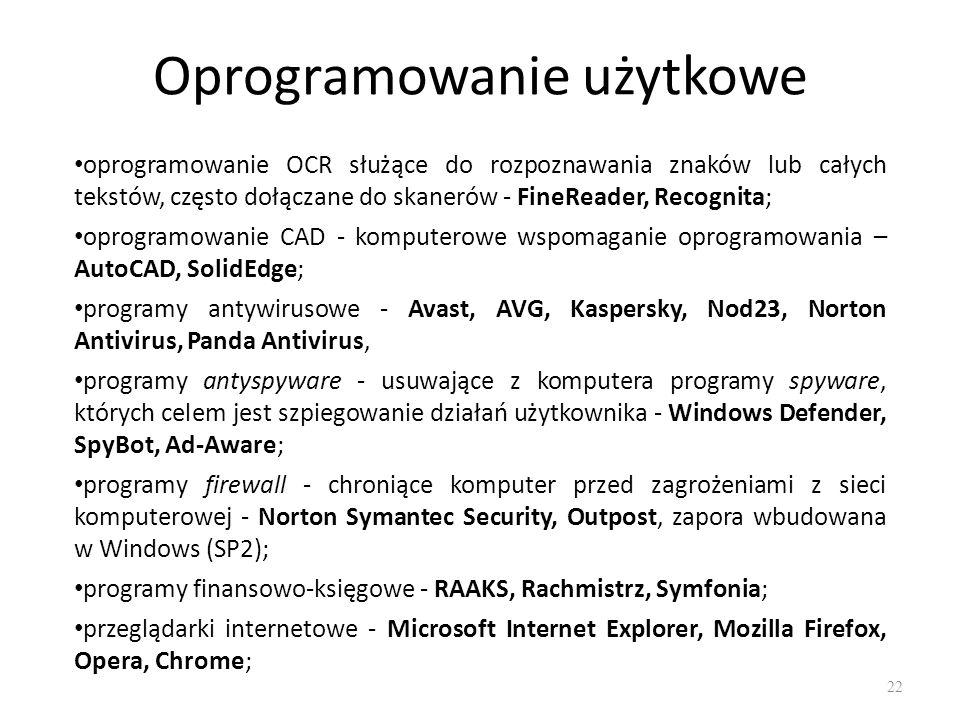 Oprogramowanie użytkowe 23 komunikatory - Gadu-Gadu, Skype, Tlen, Miranda, ICQ; programy pocztowe - klienty poczty elektronicznej - Mozilla Thunderbird, Microsoft Outlook Express, KMail, Pegasus Mail, The Bat; odtwarzacze dźwięku - Windows Media Player, Winamp; edytory dźwięku - AudaCity, odtwarzacze filmów - Power DVD, Windows Media Player, AllPlayer, Best Player; edytory wideo - Adobe Premiere Elements, PowerDirector Pro, Pinnacle Studio, VideoWave, VideoStudio, Windows Movie Maker, WinDVD Creator; programy kompresji danych - 7-ZIP, IZArc, WinRAR, WinZIP; programy edukacyjne gry komputerowe