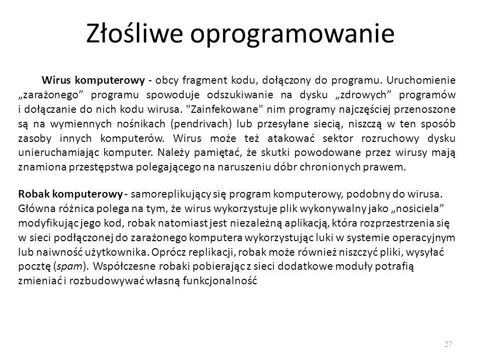 Złośliwe oprogramowanie 28 Trojan (koń trojański) jest pozornie przydatnym programem, jednak posiada ukryte, niepożądane działanie, które może być szkodliwe dla danych użytkownika.