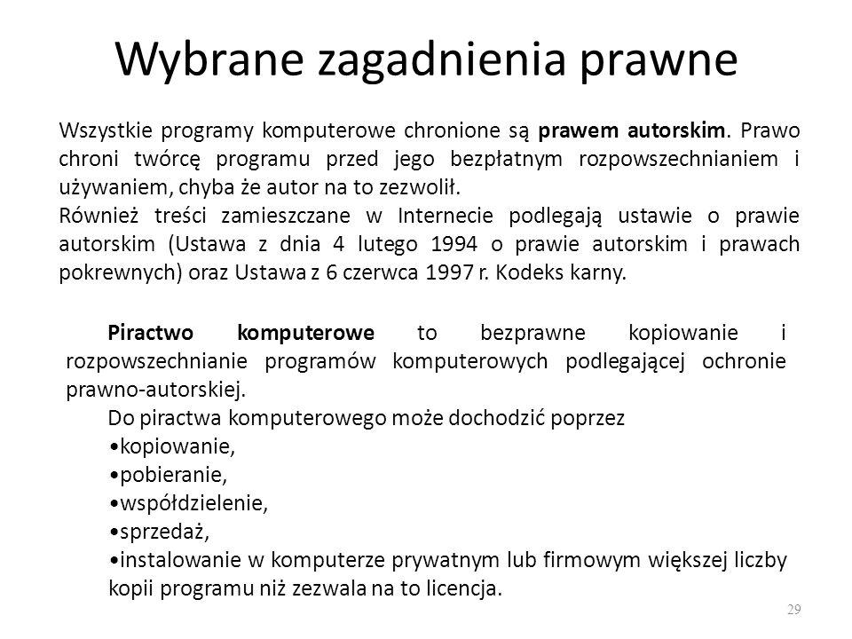 Korzystanie z oprogramowania 30 Kupując oprogramowanie w rzeczywistości tylko nabywamy licencję do korzystania z programu.