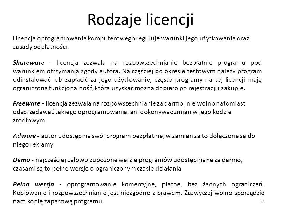 Rodzaje licencji 33 Licencja firmware - obejmuje oprogramowanie tzw.