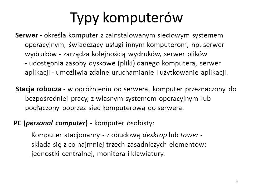 Typy komputerów 5 elementy składowe komputera stacjonarnego: 1.monitor 2.płyta główna 3.procesor (CPU) 4.pamięć operacyjna (RAM) 5.karta rozszerzenia 6.Zasilacz 7.napęd optyczny (CD, DVD itp.) 8.dysk twardy (HDD) 9.mysz 10.klawiatura