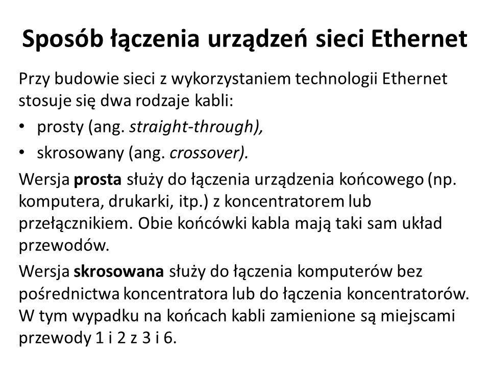 Sposób łączenia urządzeń sieci Ethernet Przy budowie sieci z wykorzystaniem technologii Ethernet stosuje się dwa rodzaje kabli: prosty (ang. straight-