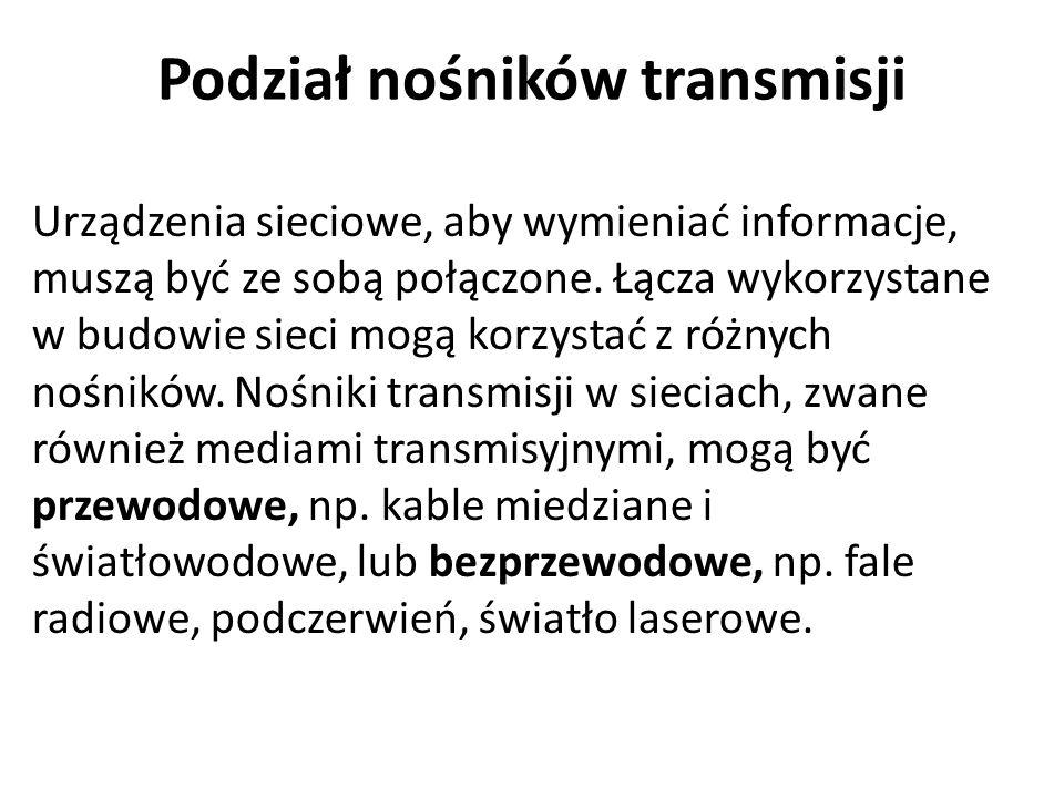 Podział nośników transmisji Urządzenia sieciowe, aby wymieniać informacje, muszą być ze sobą połączone.