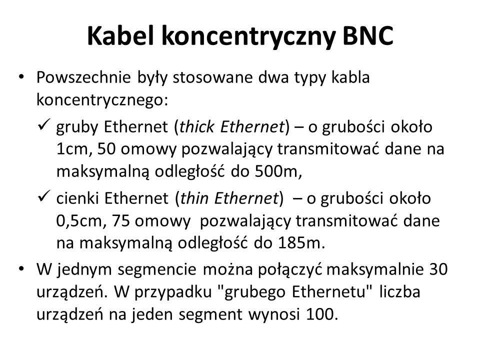 Powszechnie były stosowane dwa typy kabla koncentrycznego: gruby Ethernet (thick Ethernet) – o grubości około 1cm, 50 omowy pozwalający transmitować dane na maksymalną odległość do 500m, cienki Ethernet (thin Ethernet) – o grubości około 0,5cm, 75 omowy pozwalający transmitować dane na maksymalną odległość do 185m.