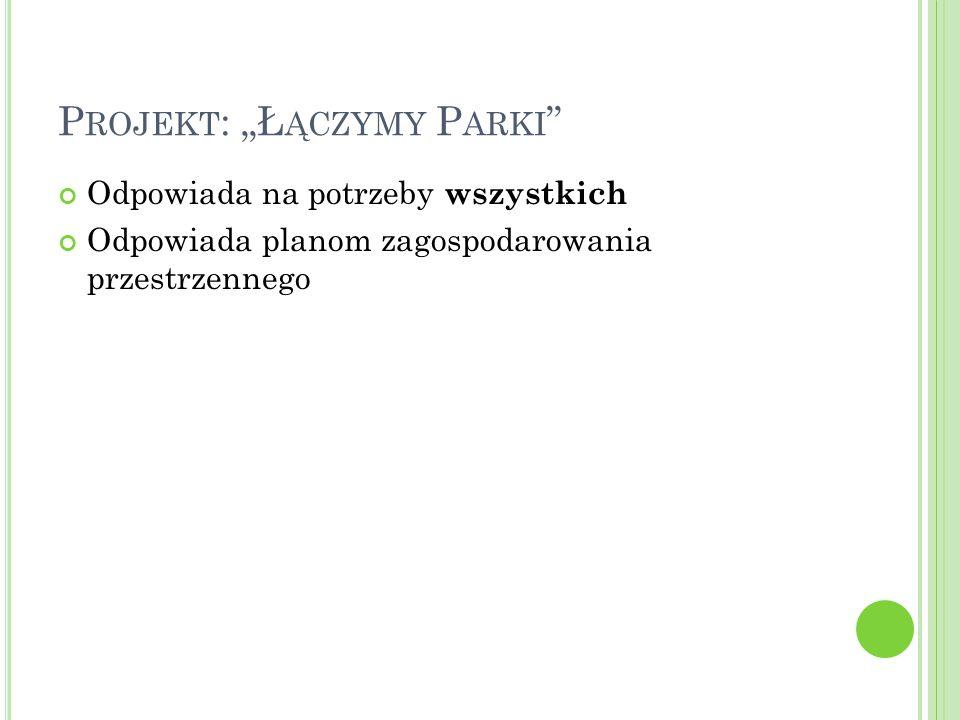 """P ROJEKT : """"Ł ĄCZYMY P ARKI """" Odpowiada na potrzeby wszystkich Odpowiada planom zagospodarowania przestrzennego"""