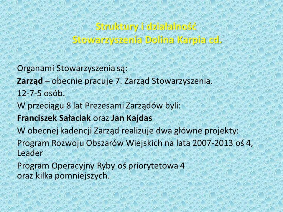 Struktury i działalność Stowarzyszenia Dolina Karpia Stowarzyszenie działa od 2006 roku, od 2008 roku na obszarze 7 gmin.