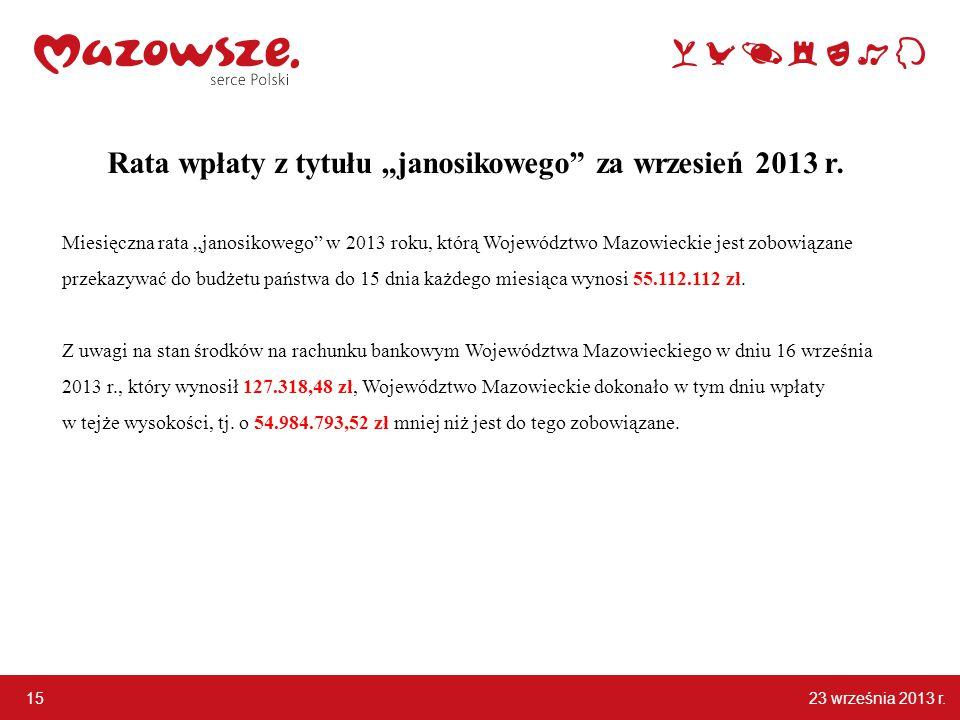 """23 września 2013 r. 15 Rata wpłaty z tytułu """"janosikowego za wrzesień 2013 r."""