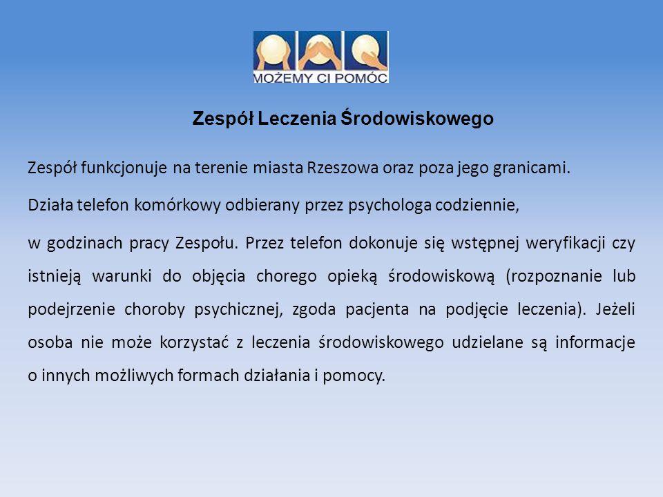 Zespół funkcjonuje na terenie miasta Rzeszowa oraz poza jego granicami. Działa telefon komórkowy odbierany przez psychologa codziennie, w godzinach pr