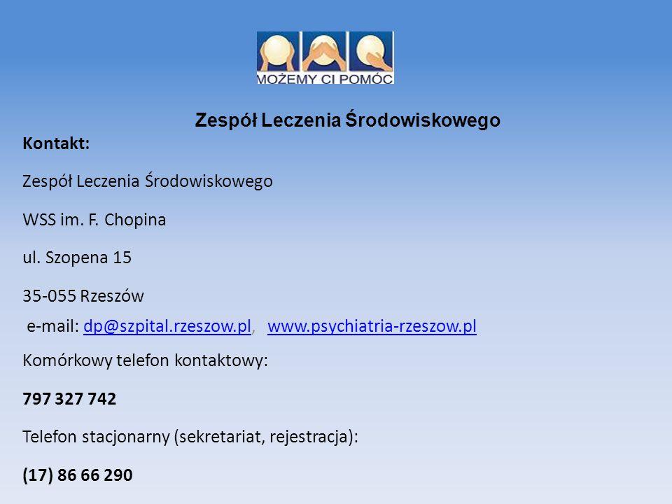 Kontakt: Zespół Leczenia Środowiskowego WSS im. F. Chopina ul. Szopena 15 35-055 Rzeszów e-mail: dp@szpital.rzeszow.pl, www.psychiatria-rzeszow.pldp@s