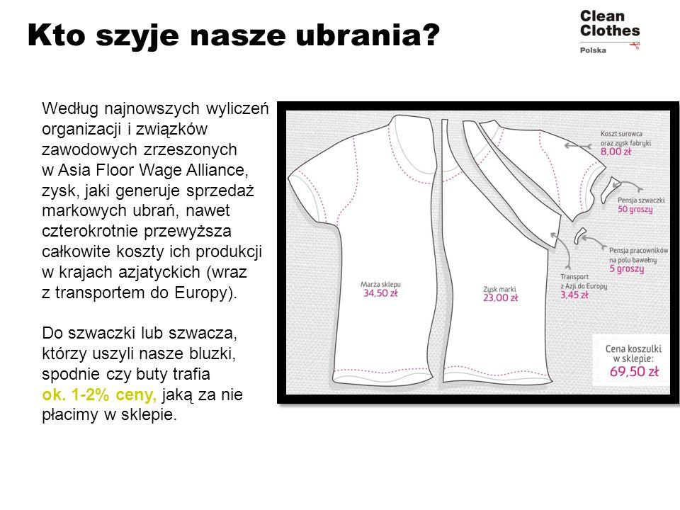 Kto szyje nasze ubrania? Według najnowszych wyliczeń organizacji i związków zawodowych zrzeszonych w Asia Floor Wage Alliance, zysk, jaki generuje spr
