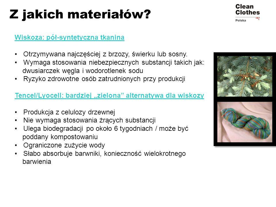Wiskoza: pół-syntetyczna tkanina Otrzymywana najczęściej z brzozy, świerku lub sosny. Wymaga stosowania niebezpiecznych substancji takich jak: dwusiar