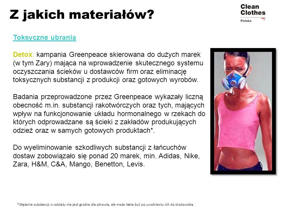 Toksyczne ubrania Detox: kampania Greenpeace skierowana do dużych marek (w tym Zary) mająca na wprowadzenie skutecznego systemu oczyszczania ścieków u