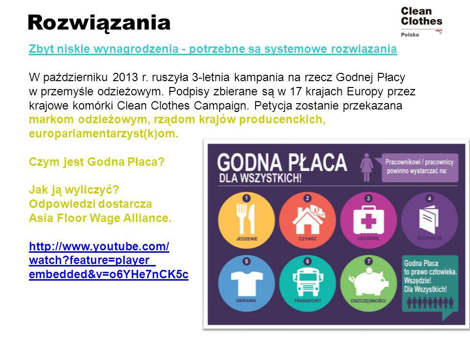 Rozwiązania Zbyt niskie wynagrodzenia - potrzebne są systemowe rozwiązania W październiku 2013 r. ruszyła 3-letnia kampania na rzecz Godnej Płacy w pr