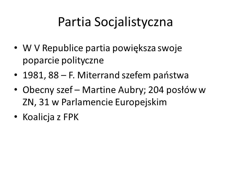 Partia Socjalistyczna W V Republice partia powiększa swoje poparcie polityczne 1981, 88 – F. Miterrand szefem państwa Obecny szef – Martine Aubry; 204