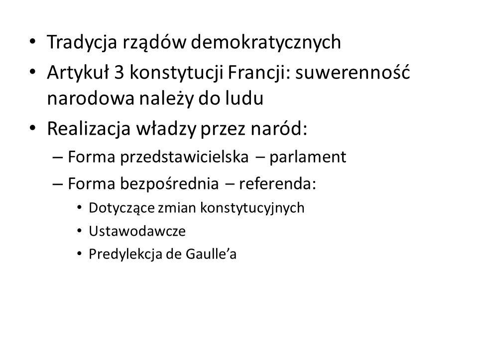Tradycja rządów demokratycznych Artykuł 3 konstytucji Francji: suwerenność narodowa należy do ludu Realizacja władzy przez naród: – Forma przedstawici