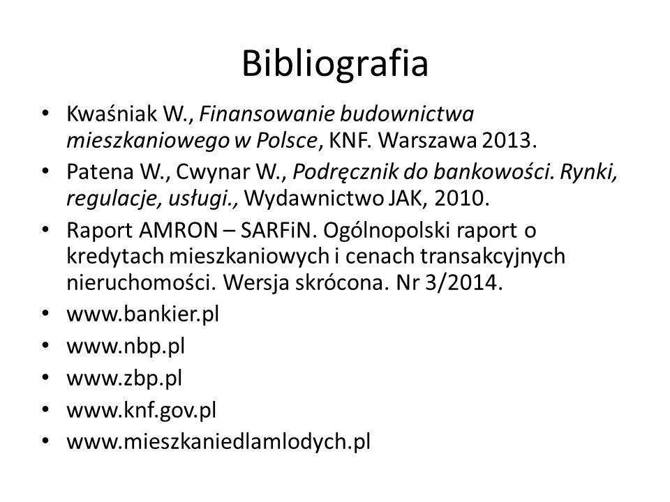 Bibliografia Kwaśniak W., Finansowanie budownictwa mieszkaniowego w Polsce, KNF. Warszawa 2013. Patena W., Cwynar W., Podręcznik do bankowości. Rynki,