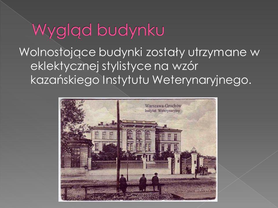 Wolnostojące budynki zostały utrzymane w eklektycznej stylistyce na wzór kazańskiego Instytutu Weterynaryjnego.