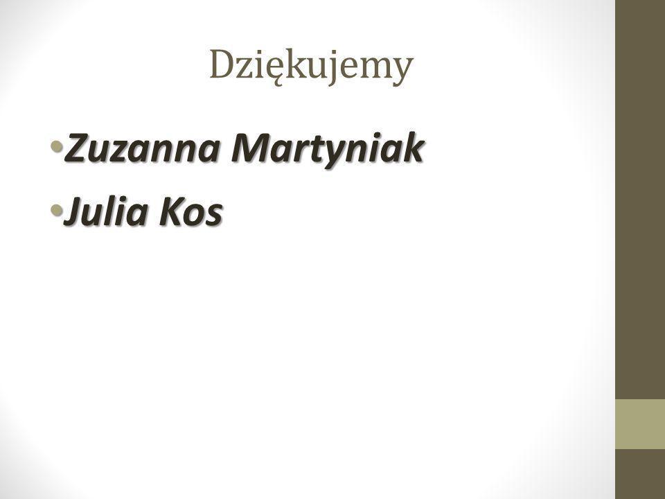 Dziękujemy Zuzanna Martyniak Zuzanna Martyniak Julia Kos Julia Kos