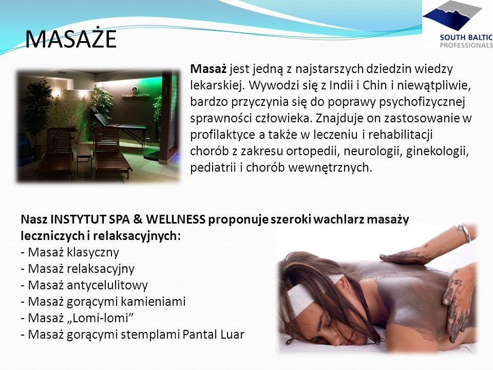 Nasz INSTYTUT SPA & WELLNESS proponuje szeroki wachlarz masaży leczniczych i relaksacyjnych: - Masaż klasyczny - Masaż relaksacyjny - Masaż antyceluli