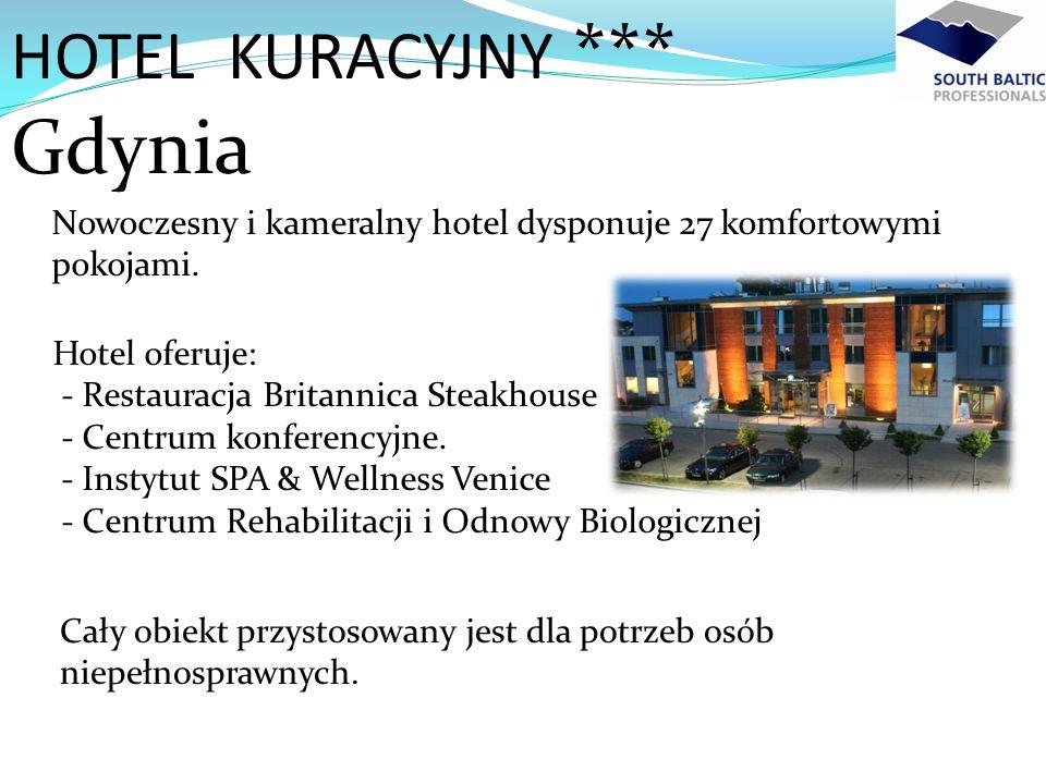 Nowoczesny i kameralny hotel dysponuje 27 komfortowymi pokojami. HOTEL KURACYJNY *** Gdynia Cały obiekt przystosowany jest dla potrzeb osób niepełnosp