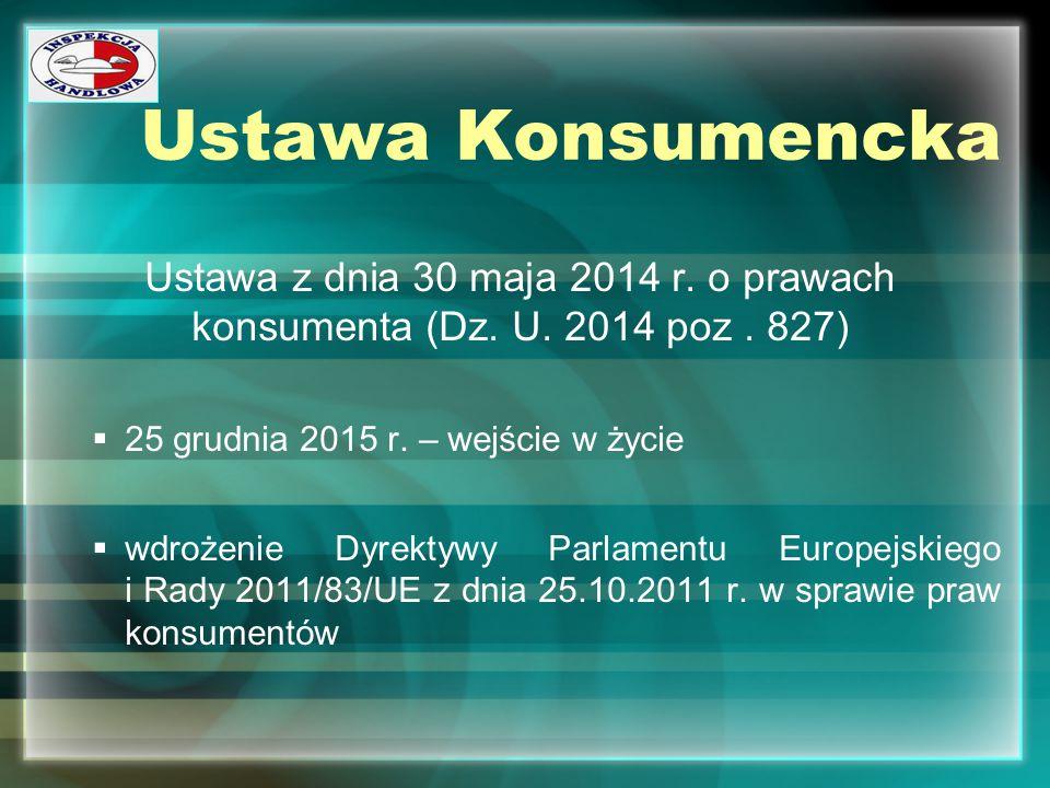 Ustawa Konsumencka Ustawa z dnia 30 maja 2014 r. o prawach konsumenta (Dz. U. 2014 poz. 827)  25 grudnia 2015 r. – wejście w życie  wdrożenie Dyrekt
