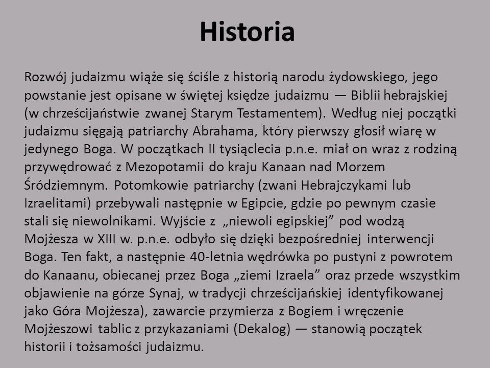 Historycznie judaizm dzieli się na judaizm biblijny i judaizm rabiniczny (talmudyczny).