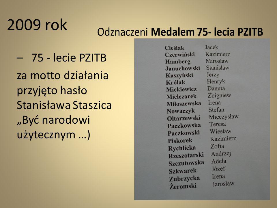 """2009 rok – 75 - lecie PZITB za motto działania przyjęto hasło Stanisława Staszica """"Być narodowi użytecznym …)"""