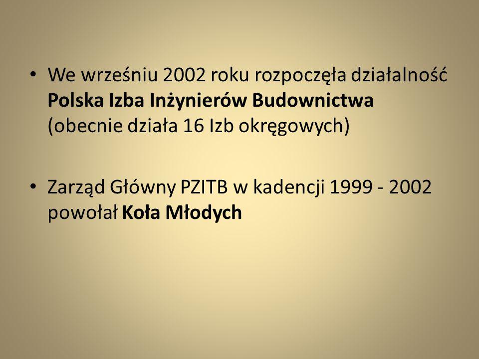 We wrześniu 2002 roku rozpoczęła działalność Polska Izba Inżynierów Budownictwa (obecnie działa 16 Izb okręgowych) Zarząd Główny PZITB w kadencji 1999
