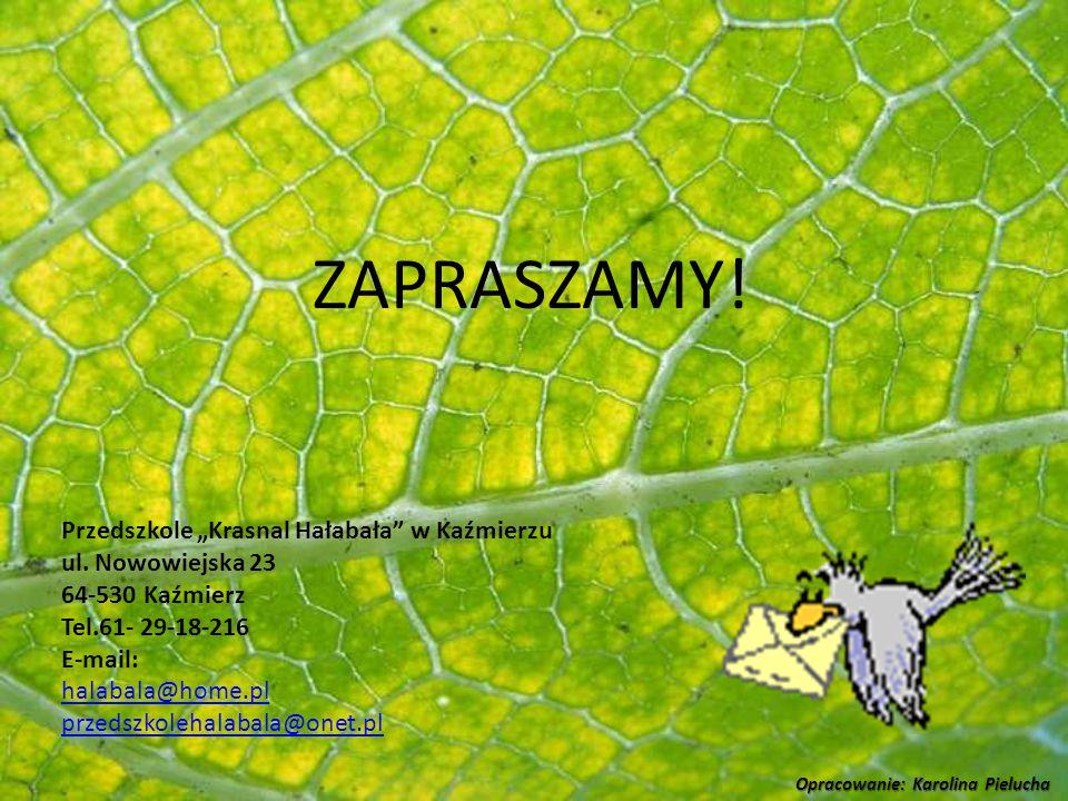 """ZAPRASZAMY! Przedszkole """"Krasnal Hałabała"""" w Kaźmierzu ul. Nowowiejska 23 64-530 Kaźmierz Tel.61- 29-18-216 E-mail: halabala@home.pl przedszkolehalaba"""