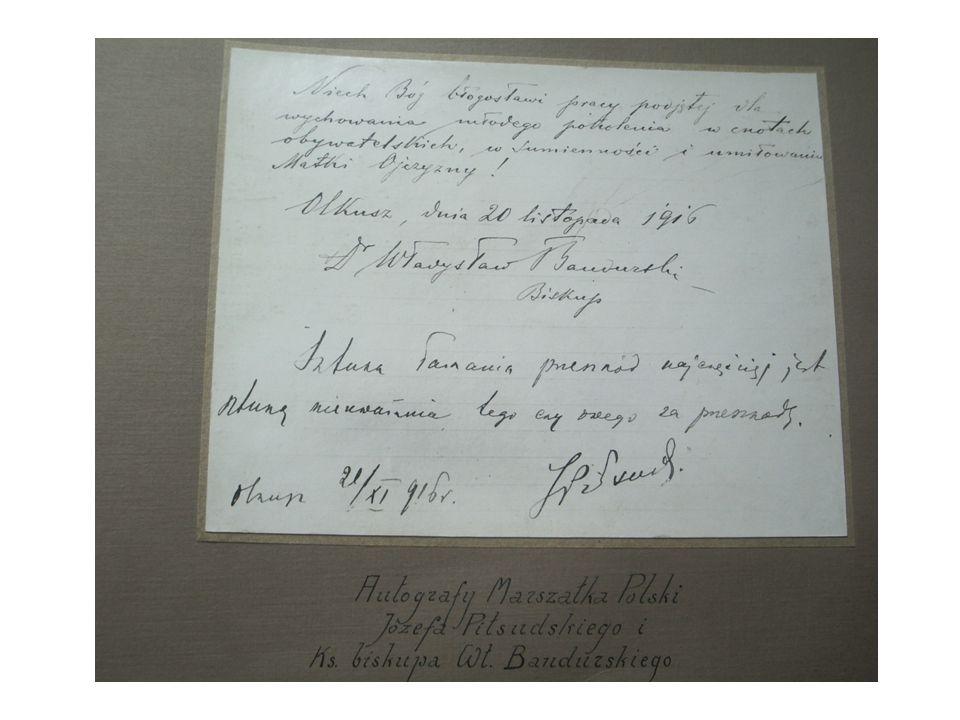 Na początku roku szkolnego 1916/17 Szkoła gościła wodza Legionów Polskich późniejszego Marszałka Polski Józefa Piłsudskiego. Świadectwem potwierdzając