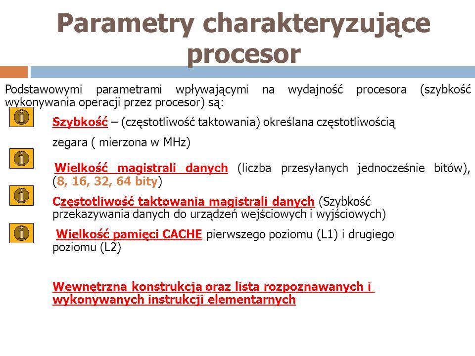 Podstawowymi parametrami wpływającymi na wydajność procesora (szybkość wykonywania operacji przez procesor) są: Szybkość – (częstotliwość taktowania)