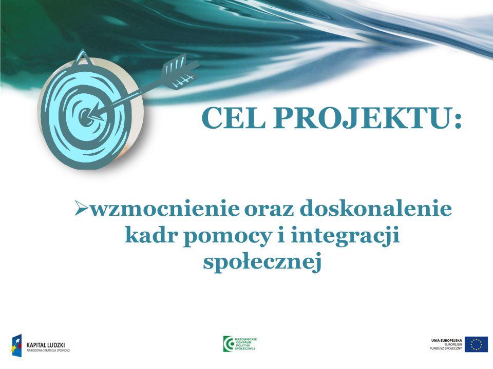 CEL PROJEKTU:  wzmocnienie oraz doskonalenie kadr pomocy i integracji społecznej