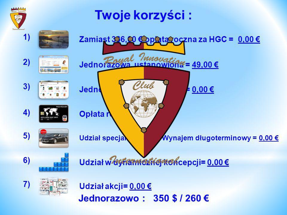 Zamiast 366,00 € opłata roczna za HGC = 0,00 € 1) Jednorazowa, ustanowiona = 49,00 € 2) Jednorazowa, ustanowiona = 0,00 € 3) Udział w dynamicznej konc