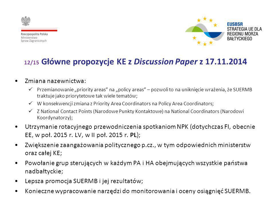 """12/15 Główne propozycje KE z Discussion Paper z 17.11.2014 Zmiana nazewnictwa: Przemianowanie """"priority areas"""" na """"policy areas"""" – pozwoli to na unikn"""