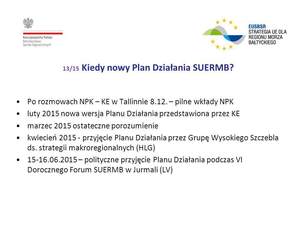13/15 Kiedy nowy Plan Działania SUERMB? Po rozmowach NPK – KE w Tallinnie 8.12. – pilne wkłady NPK luty 2015 nowa wersja Planu Działania przedstawiona