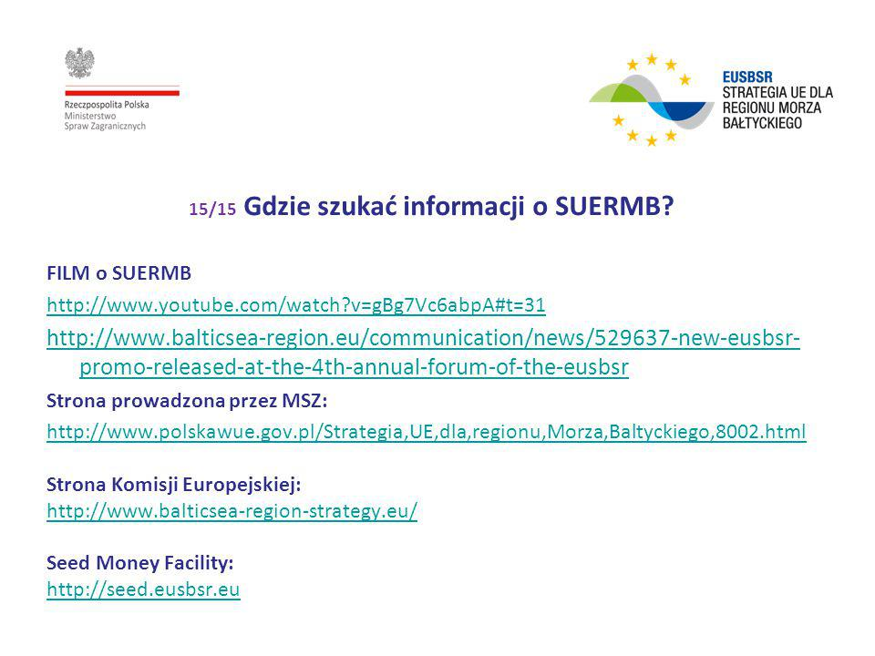 15/15 Gdzie szukać informacji o SUERMB? FILM o SUERMB http://www.youtube.com/watch?v=gBg7Vc6abpA#t=31 http://www.balticsea-region.eu/communication/new