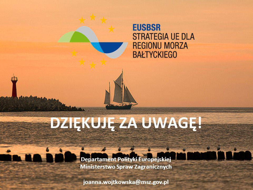 DZIĘKUJĘ ZA UWAGĘ! Departament Polityki Europejskiej Ministerstwo Spraw Zagranicznych joanna.wojtkowska@msz.gov.pl