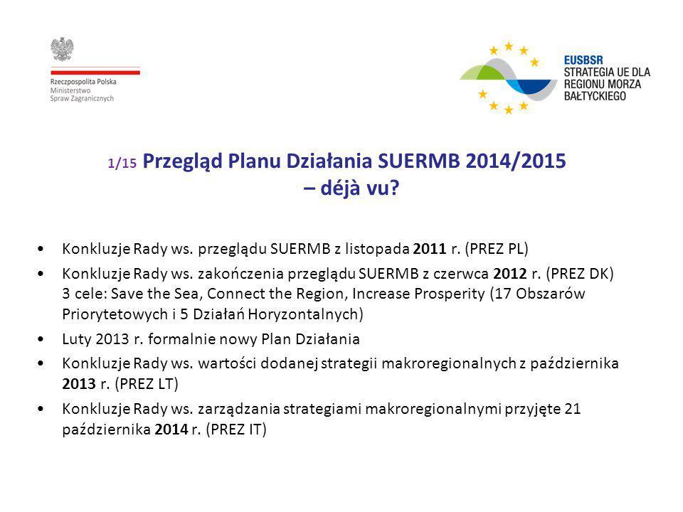 1/15 Przegląd Planu Działania SUERMB 2014/2015 – déjà vu? Konkluzje Rady ws. przeglądu SUERMB z listopada 2011 r. (PREZ PL) Konkluzje Rady ws. zakończ