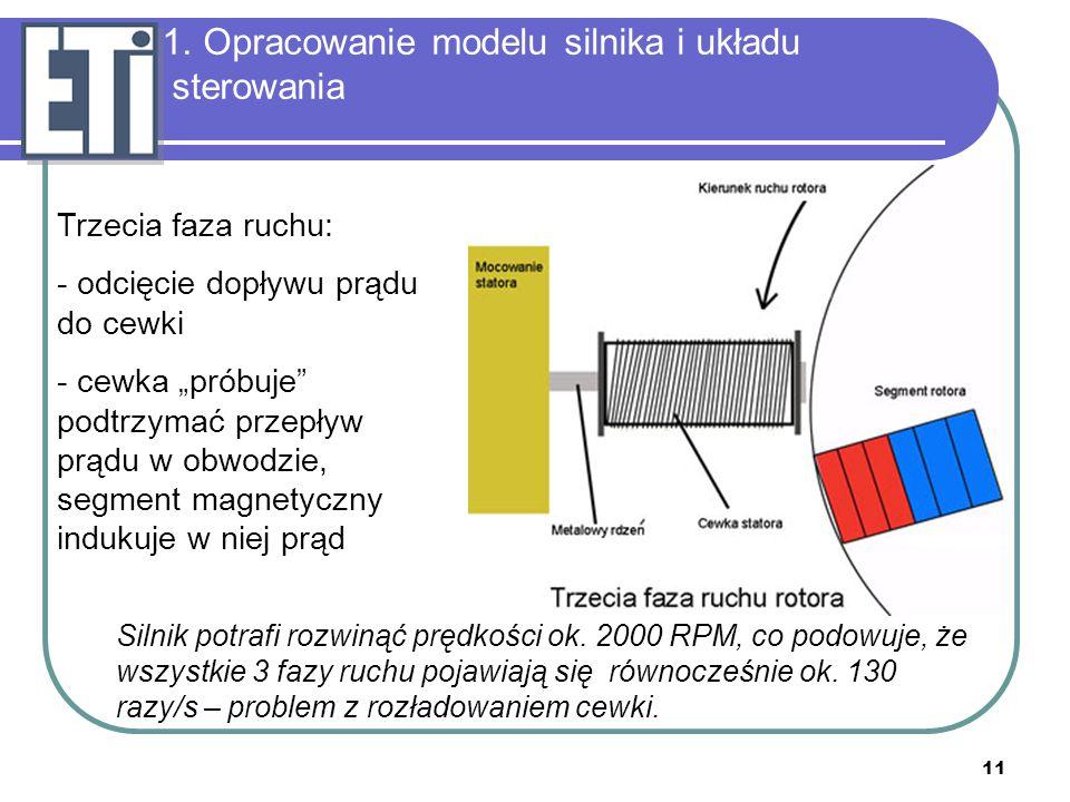"""11 1. Opracowanie modelu silnika i układu sterowania Trzecia faza ruchu: - odcięcie dopływu prądu do cewki - cewka """"próbuje"""" podtrzymać przepływ prądu"""