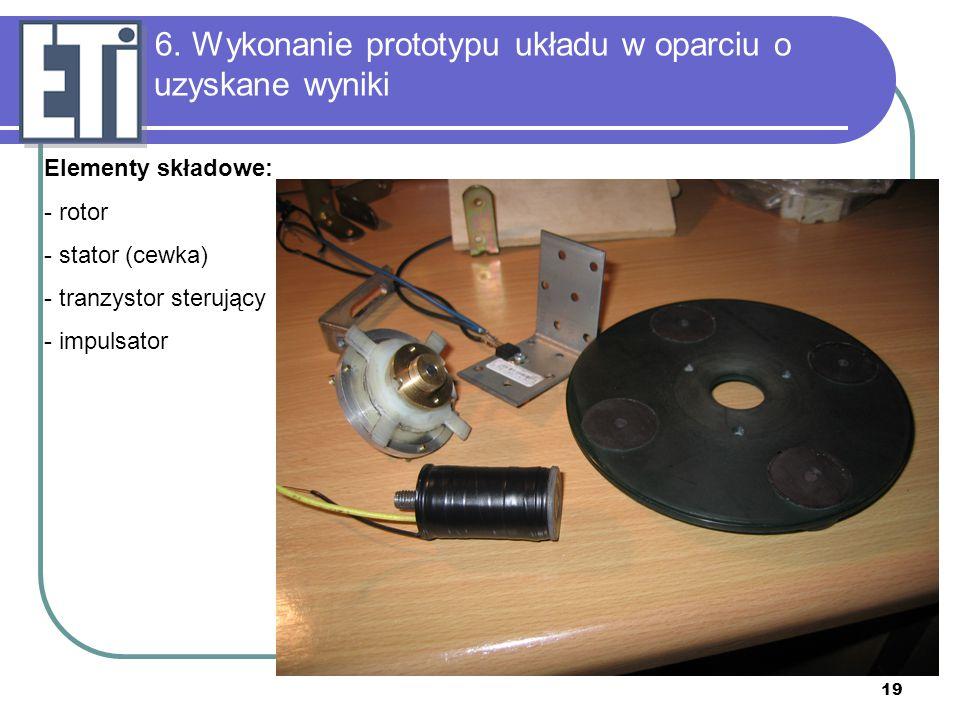 19 Elementy składowe: - rotor - stator (cewka) - tranzystor sterujący - impulsator 6. Wykonanie prototypu układu w oparciu o uzyskane wyniki