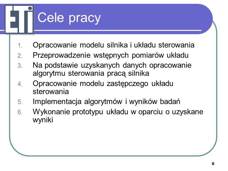 6 Cele pracy 1. Opracowanie modelu silnika i układu sterowania 2. Przeprowadzenie wstępnych pomiarów układu 3. Na podstawie uzyskanych danych opracowa