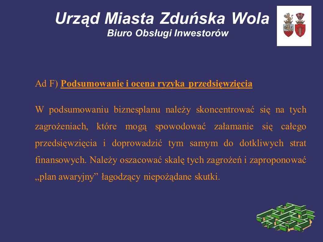 Urząd Miasta Zduńska Wola Biuro Obsługi Inwestorów Ad F) Podsumowanie i ocena ryzyka przedsięwzięcia W podsumowaniu biznesplanu należy skoncentrować się na tych zagrożeniach, które mogą spowodować załamanie się całego przedsięwzięcia i doprowadzić tym samym do dotkliwych strat finansowych.