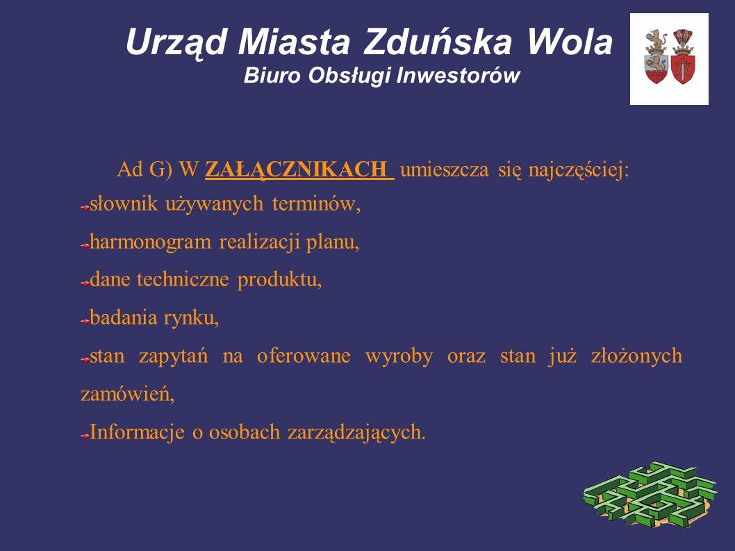 Urząd Miasta Zduńska Wola Biuro Obsługi Inwestorów Ad G) W ZAŁĄCZNIKACH umieszcza się najczęściej: słownik używanych terminów, harmonogram realizacji