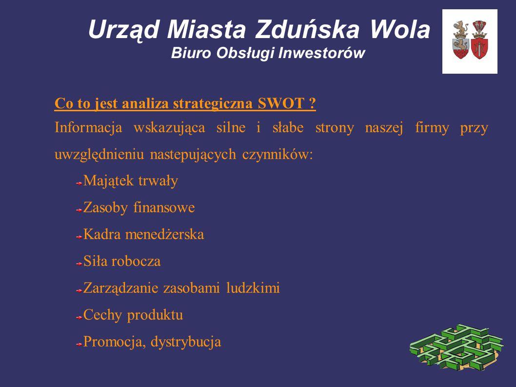 Urząd Miasta Zduńska Wola Biuro Obsługi Inwestorów Co to jest analiza strategiczna SWOT ? Informacja wskazująca silne i słabe strony naszej firmy przy