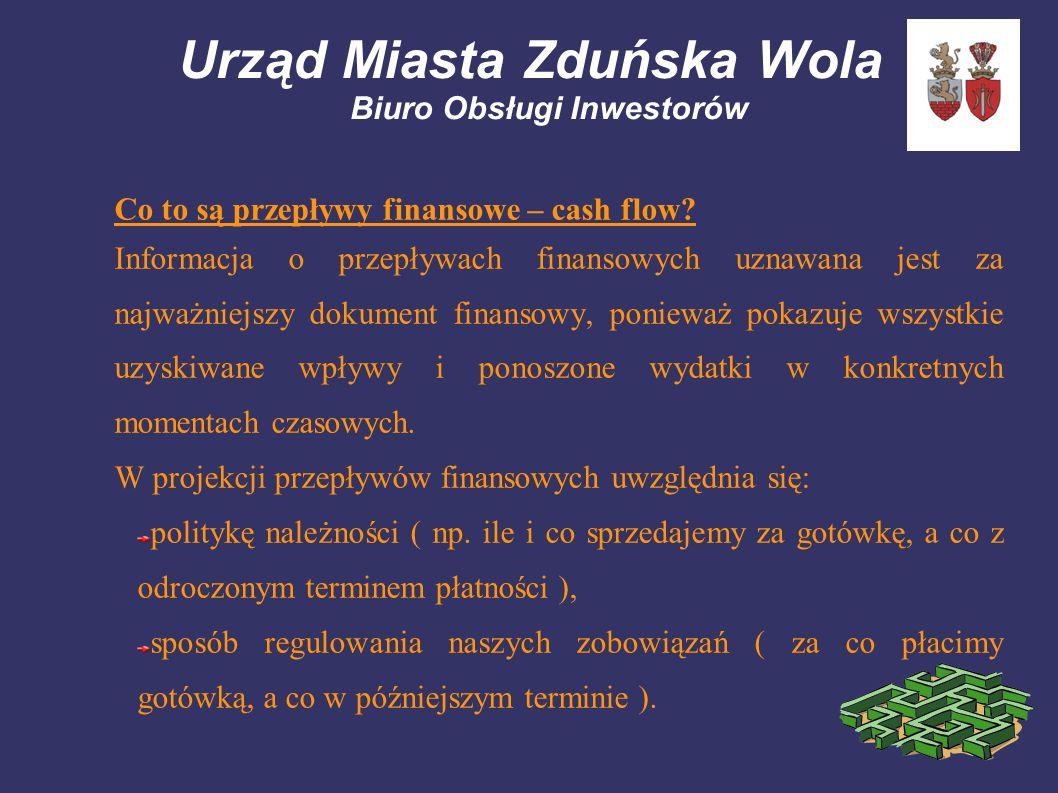 Urząd Miasta Zduńska Wola Biuro Obsługi Inwestorów Co to są przepływy finansowe – cash flow? Informacja o przepływach finansowych uznawana jest za naj